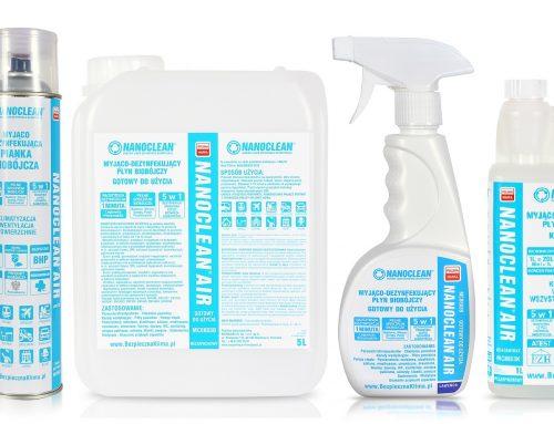 NOWOŚĆ- NANO CLEAN płyny do czyszczenia, odgrzybiania i dezynfekcji układów klimatyzacji i wentylacji HVAC